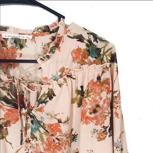 Tops - BOHO floral peasant blouse v neck long sleeve
